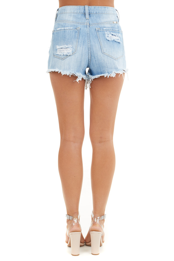 Light Wash High Rise Denim Shorts with Distressed Details back view