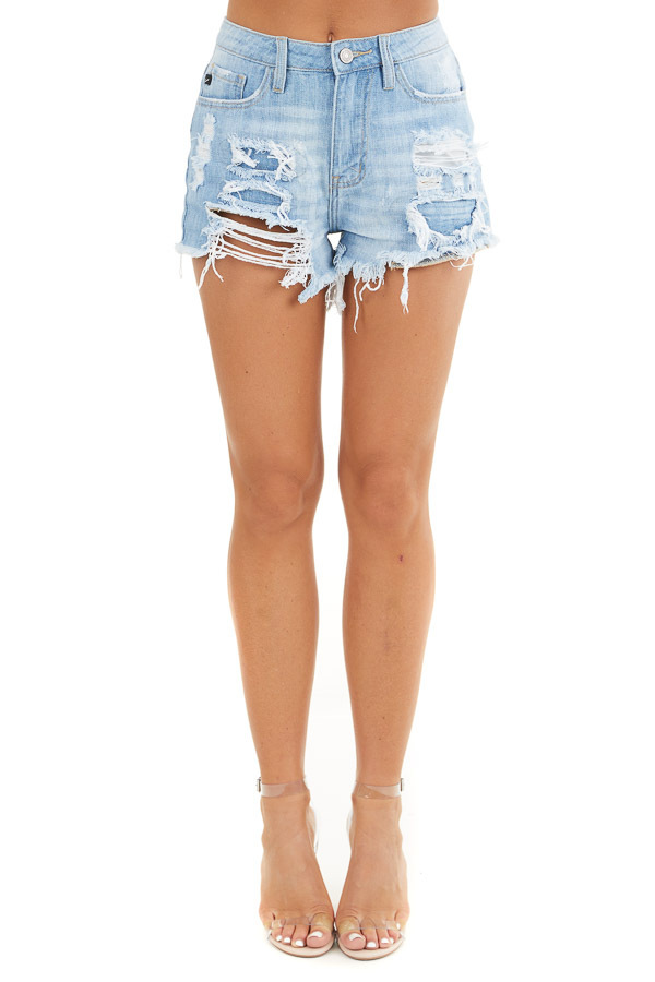 Light Wash High Rise Denim Shorts with Distressed Details front view
