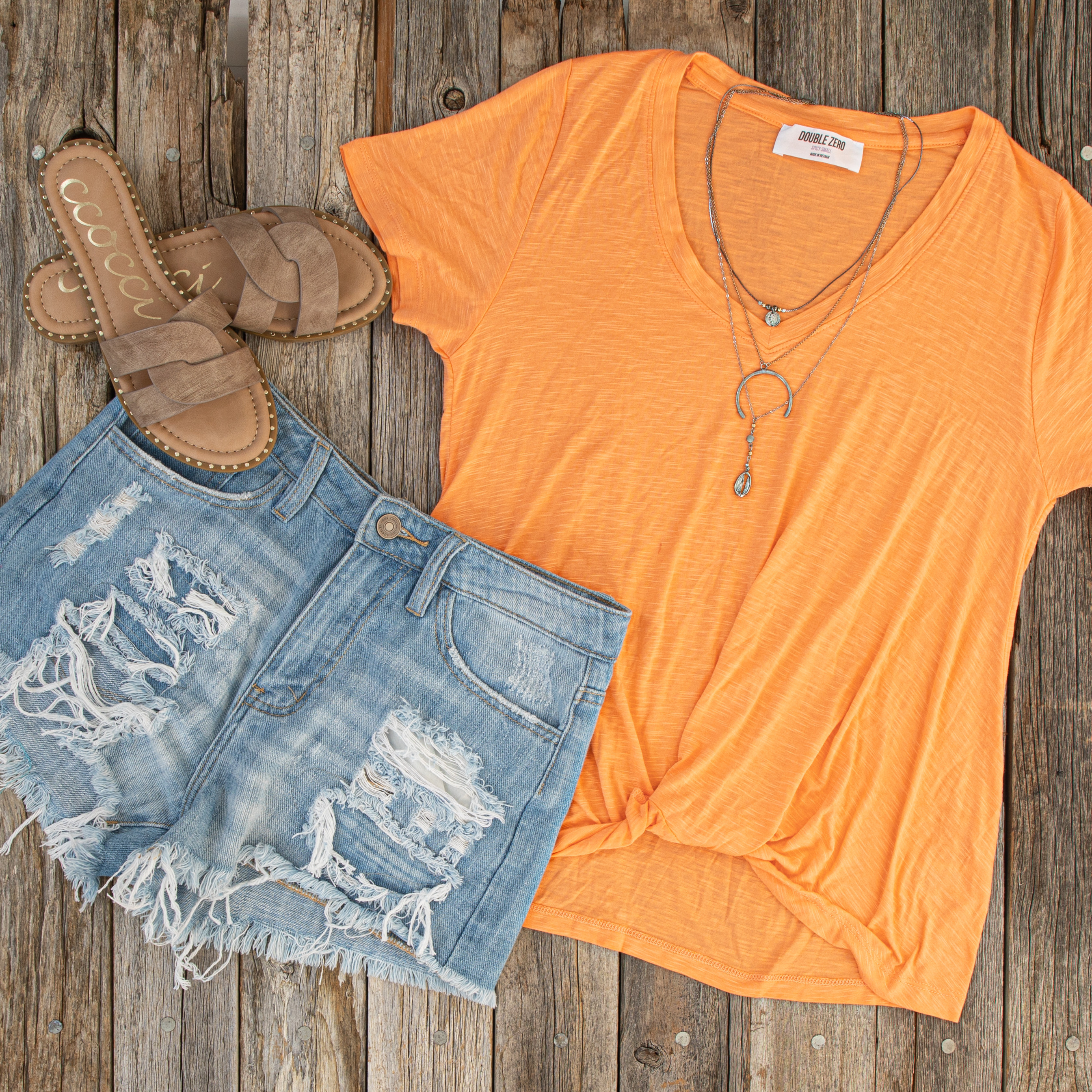 Light Wash High Rise Denim Shorts with Distressed Details
