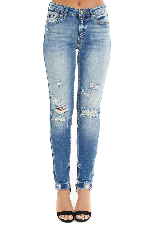 Medium Wash High Rise Skinny Jeans with Distressed Details front view
