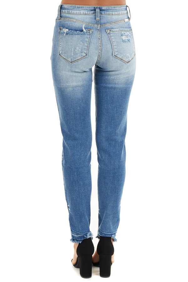 Medium Wash High Rise Skinny Jeans with Distressed Details back view