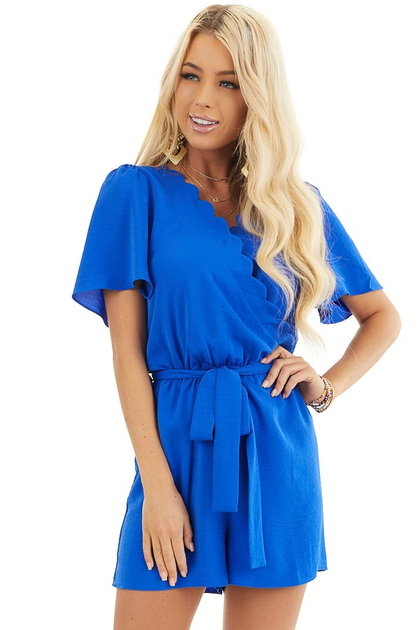 Royal Blue Romper with Waist Tie And Scalloped Edges front close up
