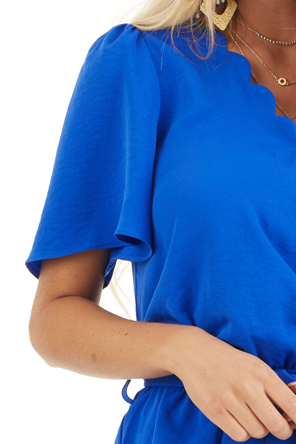 Royal Blue Romper with Waist Tie And Scalloped Edges detail