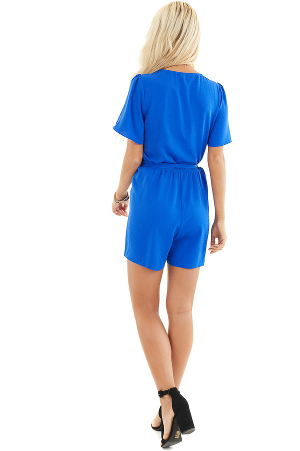 Royal Blue Romper with Waist Tie And Scalloped Edges back full body