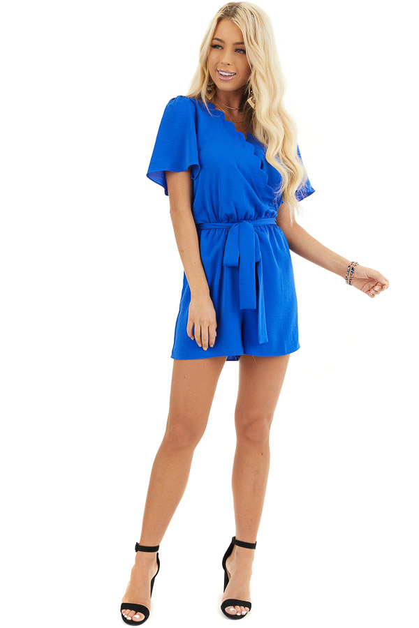 Royal Blue Romper with Waist Tie And Scalloped Edges front full body
