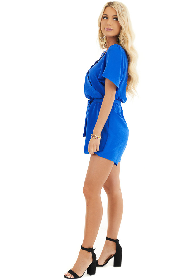Royal Blue Romper with Waist Tie And Scalloped Edges side full body
