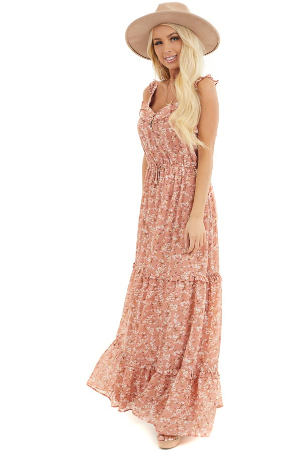 Dusty Salmon Floral Print Tiered Maxi Dress with Ruffles front full body