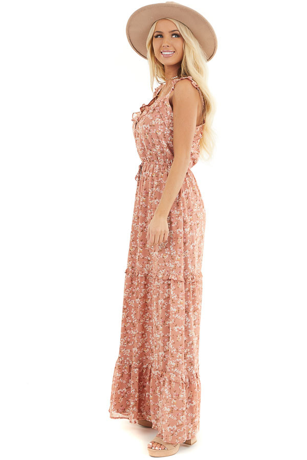 Dusty Salmon Floral Print Tiered Maxi Dress with Ruffles side full body