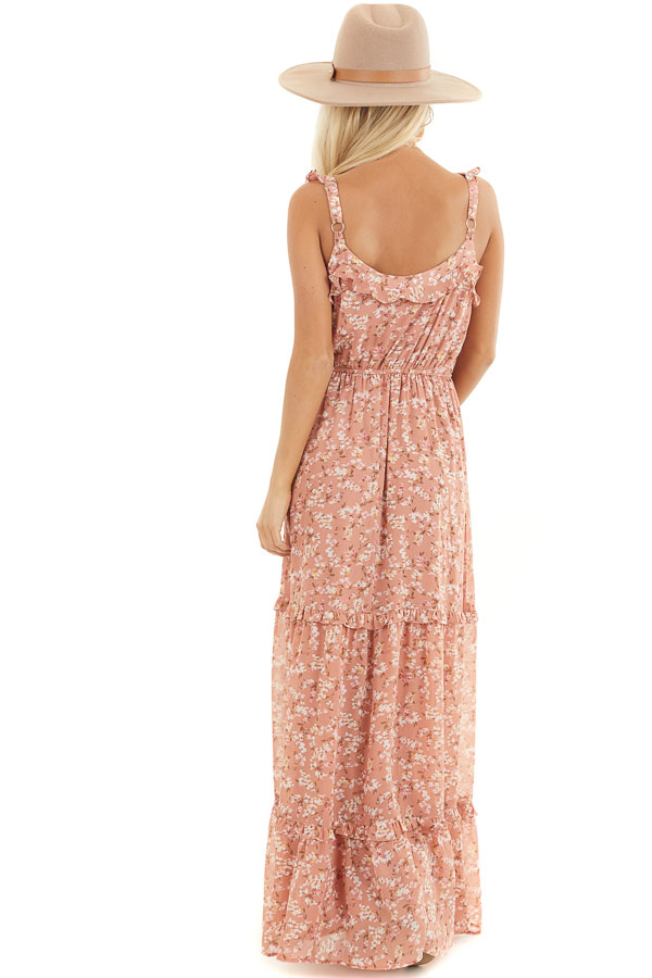 Dusty Salmon Floral Print Tiered Maxi Dress with Ruffles back full body