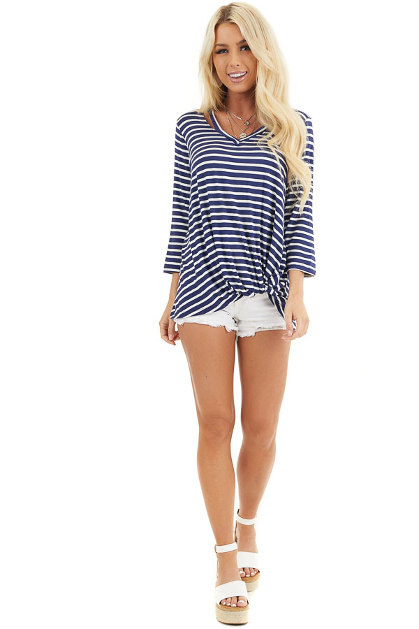 Navy and Ivory 3/4 Sleeve Knit Top with Neckline Cutouts front full body