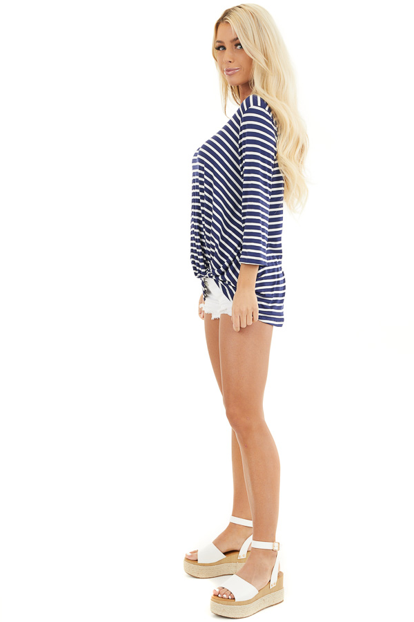 Navy and Ivory 3/4 Sleeve Knit Top with Neckline Cutouts side full body