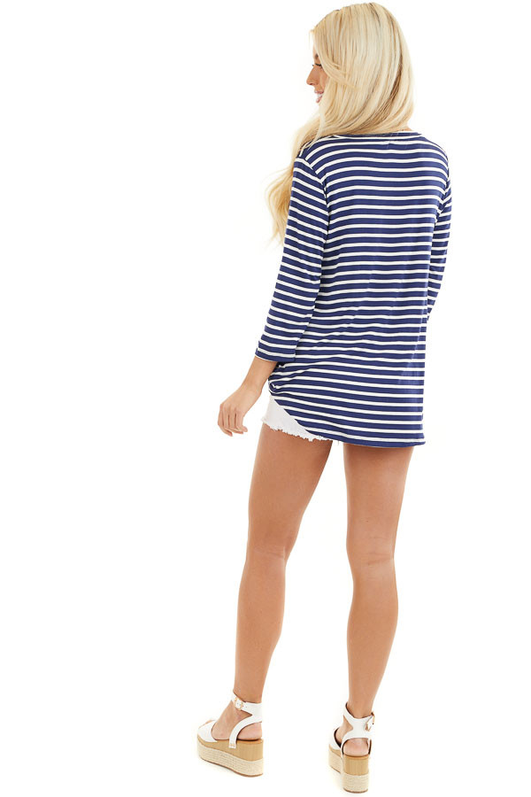 Navy and Ivory 3/4 Sleeve Knit Top with Neckline Cutouts back full body