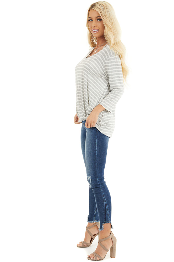 Grey and Ivory 3/4 Sleeve Knit Top with Neckline Cutouts side full body