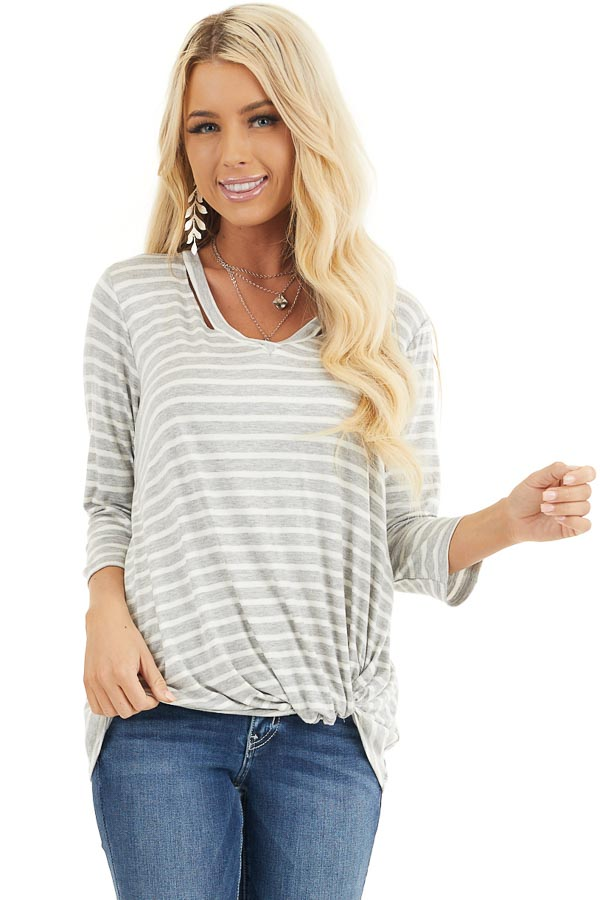 Grey and Ivory 3/4 Sleeve Knit Top with Neckline Cutouts front close up