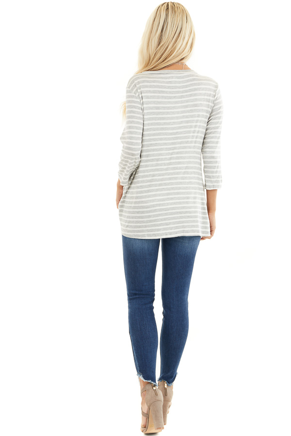 Grey and Ivory 3/4 Sleeve Knit Top with Neckline Cutouts back full body
