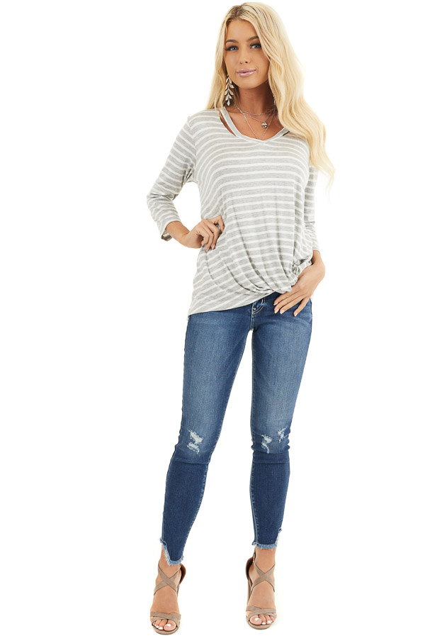 Grey and Ivory 3/4 Sleeve Knit Top with Neckline Cutouts front full body