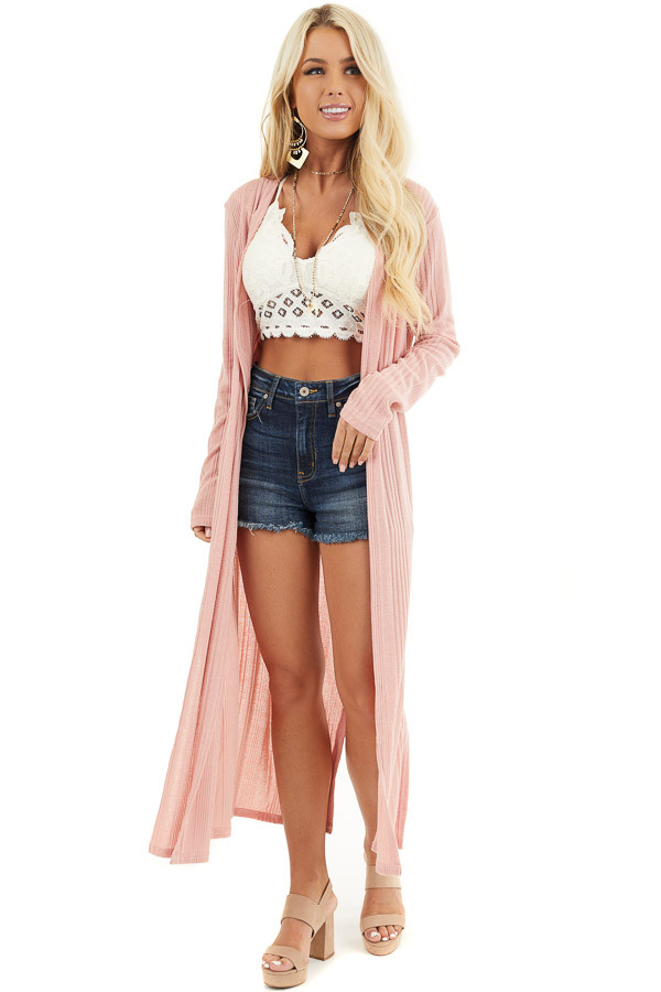 Soft Pink Knit Long Sleeve Duster Cardigan with Side Slits front full body