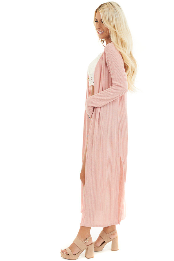 Soft Pink Knit Long Sleeve Duster Cardigan with Side Slits side full body