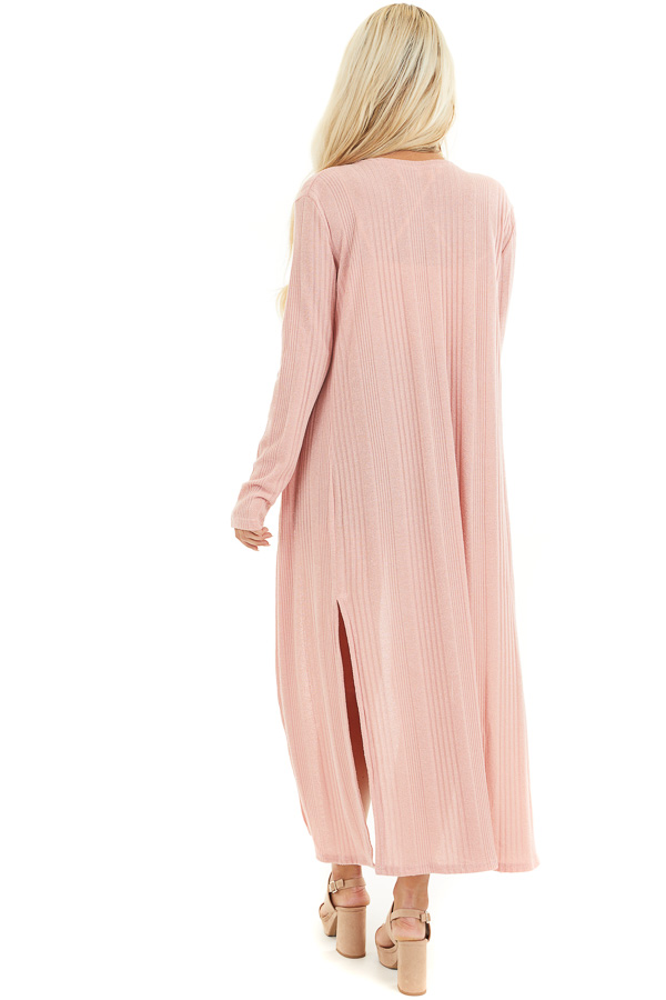 Soft Pink Knit Long Sleeve Duster Cardigan with Side Slits back full body