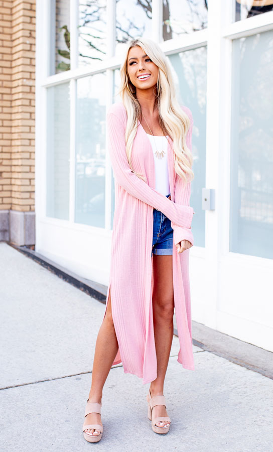 Soft Pink Knit Long Sleeve Duster Cardigan with Side Slits
