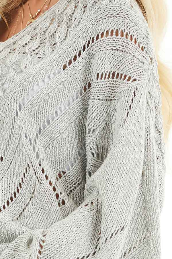 Grey Two Tone Chunky Knit Sweater with Long Flare Sleeves detail