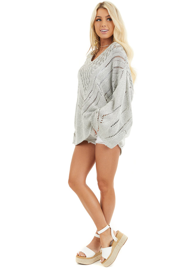 Grey Two Tone Chunky Knit Sweater with Long Flare Sleeves side full body