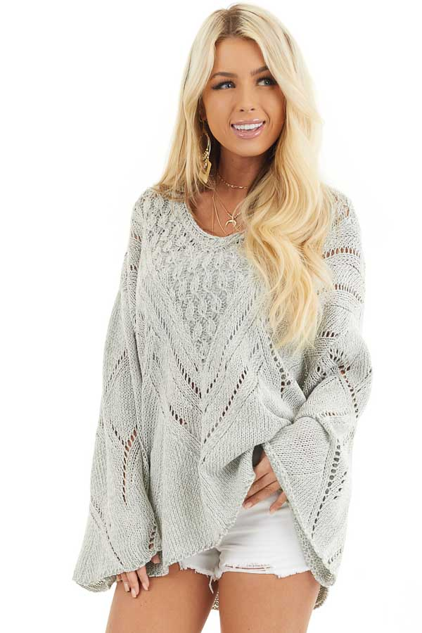 Grey Two Tone Chunky Knit Sweater with Long Flare Sleeves front close up