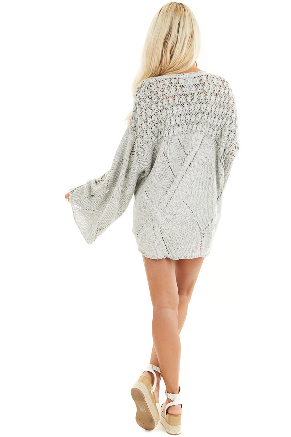 Grey Two Tone Chunky Knit Sweater with Long Flare Sleeves back full body