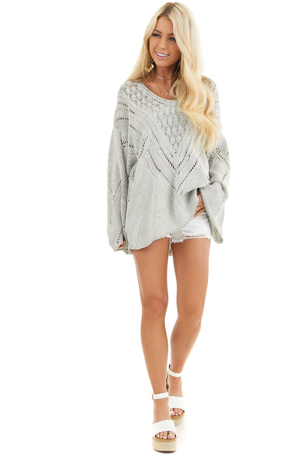 Grey Two Tone Chunky Knit Sweater with Long Flare Sleeves front full body