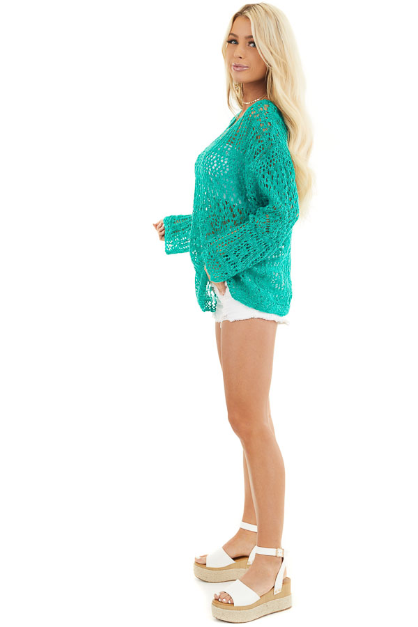 Jade Pointelle Long Sleeve Sweater Top with Sparkle Detail side full body