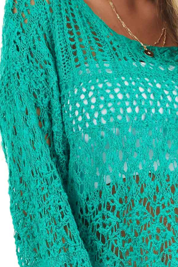 Jade Pointelle Long Sleeve Sweater Top with Sparkle Detail detail