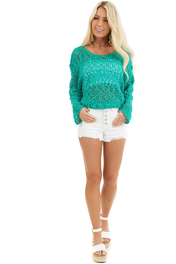 Jade Pointelle Long Sleeve Sweater Top with Sparkle Detail front full body