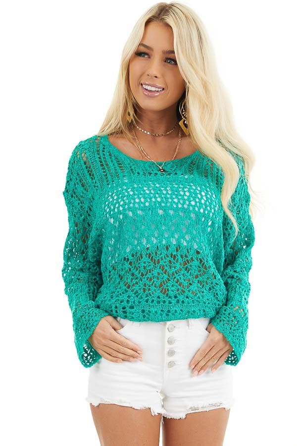 Jade Pointelle Long Sleeve Sweater Top with Sparkle Detail front close up