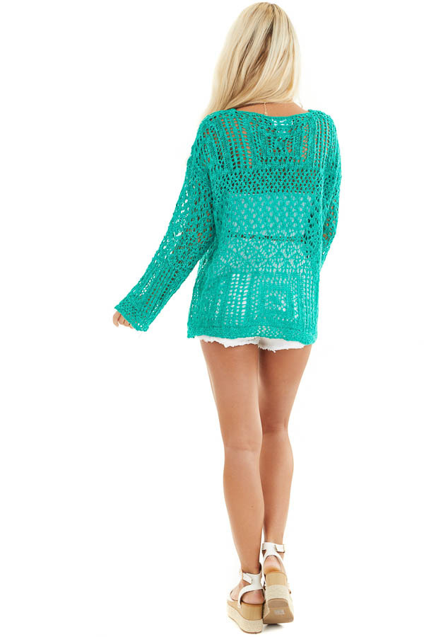 Jade Pointelle Long Sleeve Sweater Top with Sparkle Detail back full body