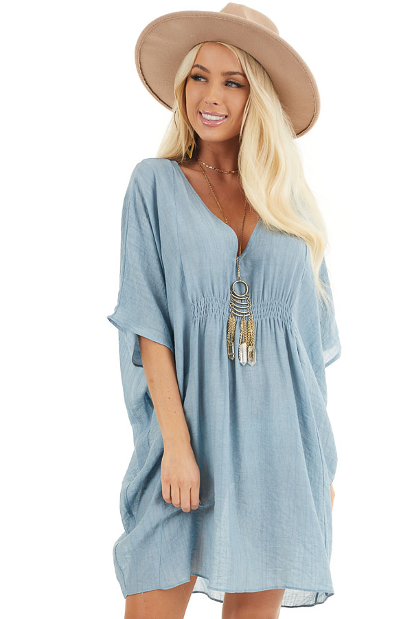 Dusty Blue Short Sleeve V Neck Dress with Gathered Details front close up