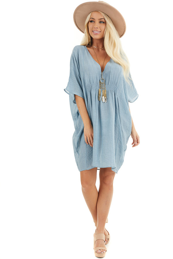 Dusty Blue Short Sleeve V Neck Dress with Gathered Details front full body