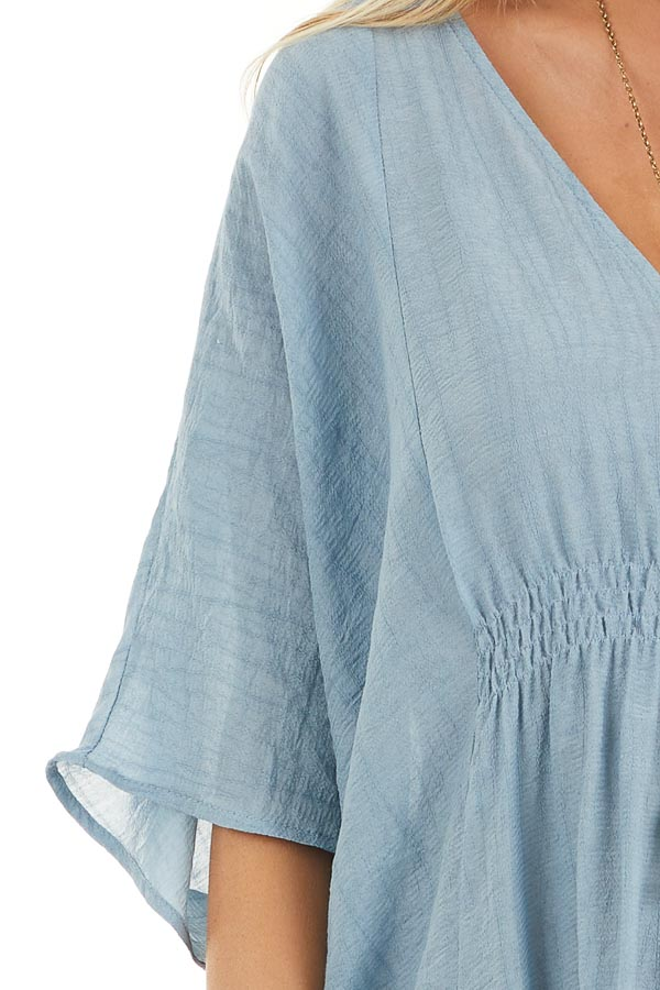 Dusty Blue Short Sleeve V Neck Dress with Gathered Details detail