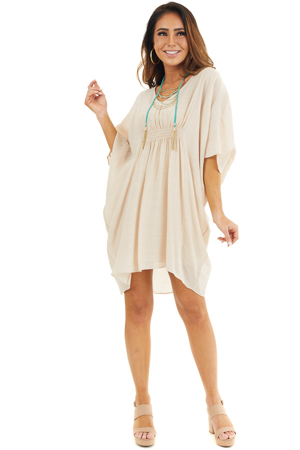 Beige Short Sleeve V Neck Dress with Gathered Details front full body
