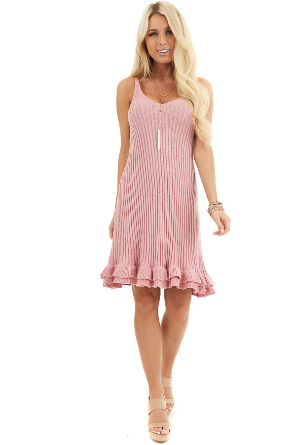 Rose Sleeveless Ribbed Sweater Dress with Ruffled Hemline front full body