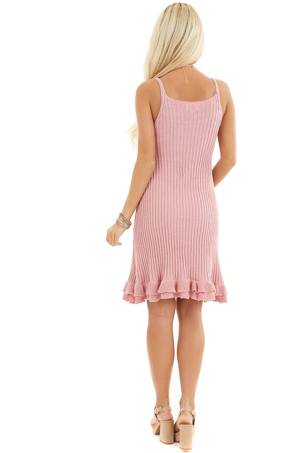 Rose Sleeveless Ribbed Sweater Dress with Ruffled Hemline back full body