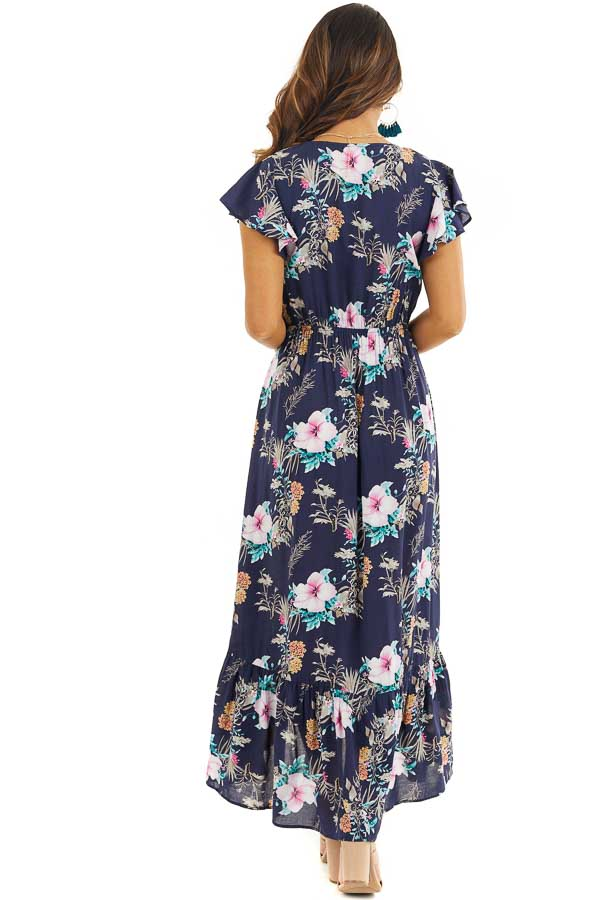 Navy Floral High Low Maxi Dress with Bust Tie Detail back full body