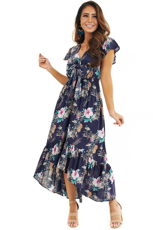 Navy Floral High Low Maxi Dress with Bust Tie Detail front full body