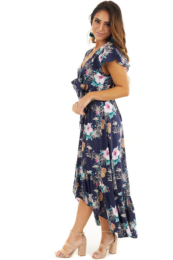 Navy Floral High Low Maxi Dress with Bust Tie Detail side full body
