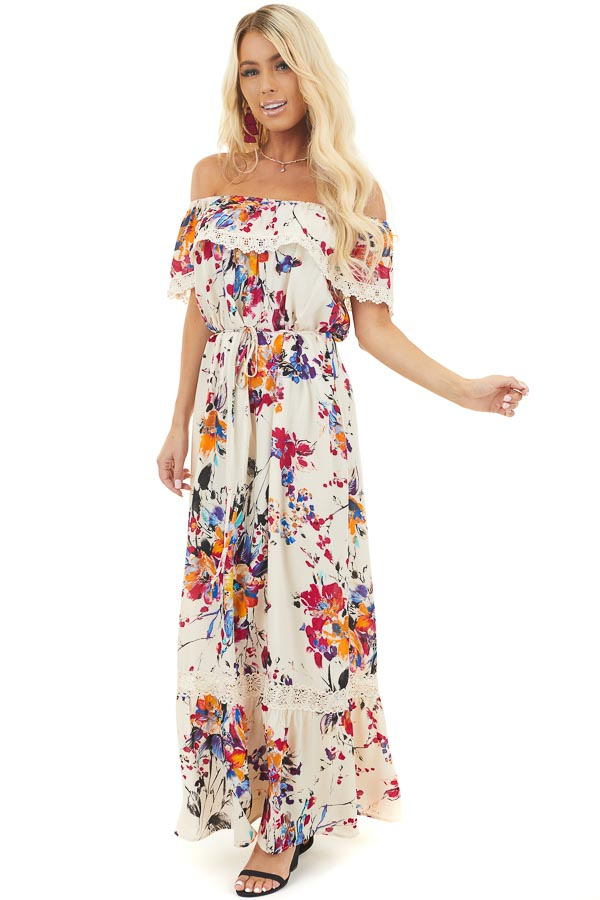 Cream Floral Off the Shoulder Maxi Dress with Lace Trim