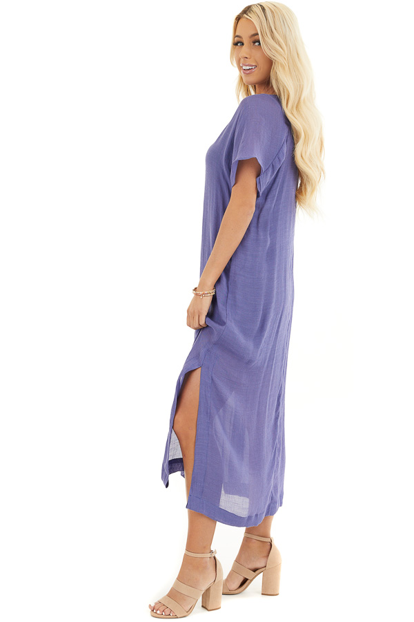 Deep Periwinkle Short Sleeve Midi Dress with Side Slits side full body