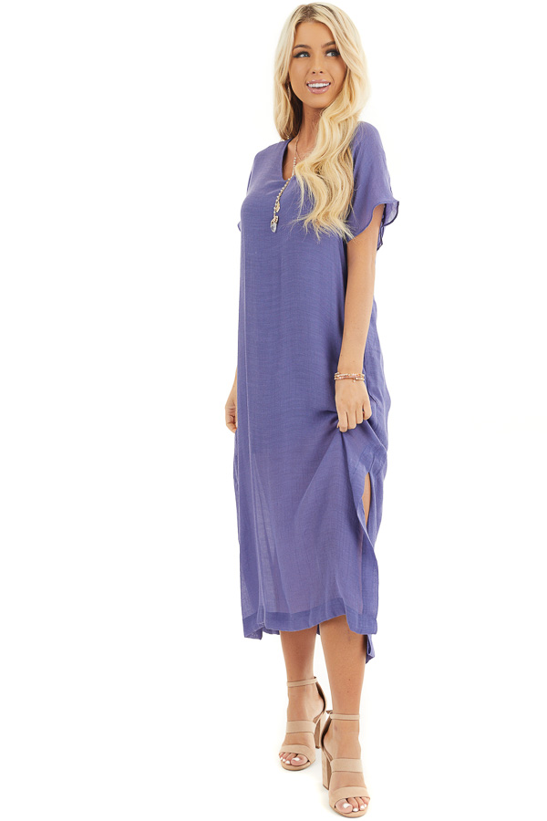 Deep Periwinkle Short Sleeve Midi Dress with Side Slits front full body