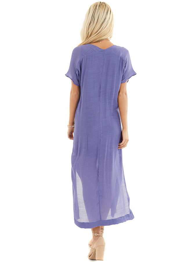 Deep Periwinkle Short Sleeve Midi Dress with Side Slits back full body
