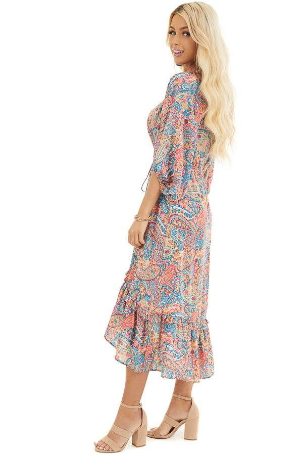 Multicolor Paisley Print High Low Dress with Ruffled Hemline side full body