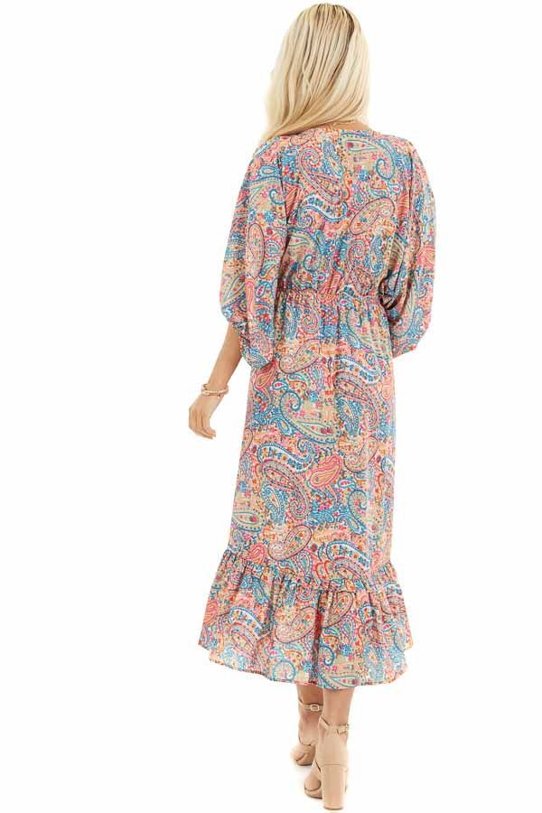 Multicolor Paisley Print High Low Dress with Ruffled Hemline back full body