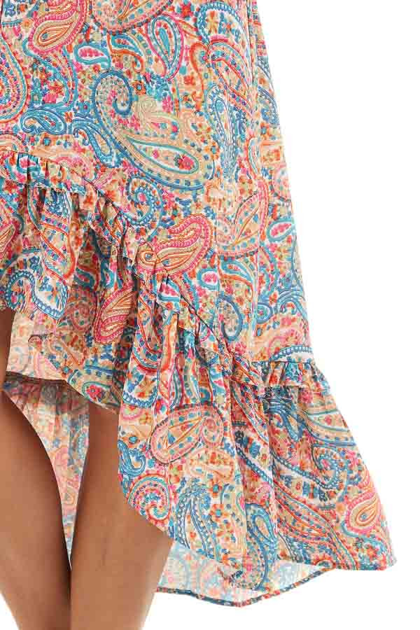 Multicolor Paisley Print High Low Dress with Ruffled Hemline detail